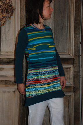 Himalaya Stripe Dress Goldy Petrol