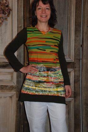 Himalaya Stripe Dress Goldy Green