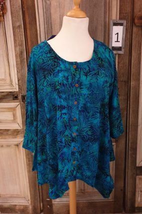 Normal Crazy Blouse Wizard Crincle (blauw/groen)3/4 mouw