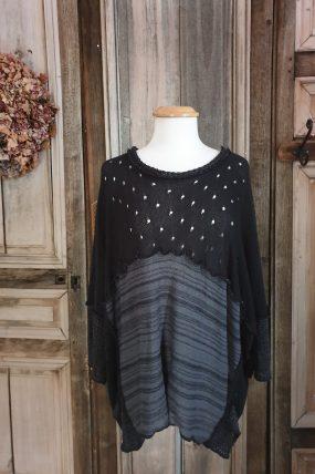 Prisa trui top (zwart,turquoise )