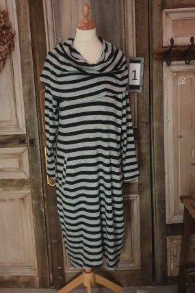 Kekoo jurk zwart/wit streep