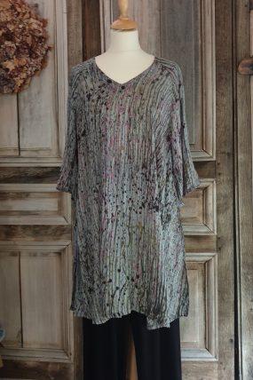 `Tunic Vneck raglan crincle batik AC1694L