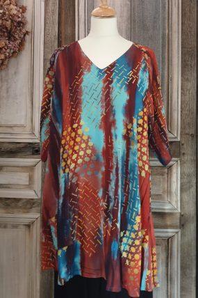 `Tuniv Vneck raglan crincle batik AC1694T