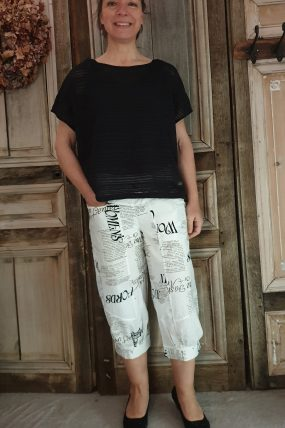 E-ApS Pants black 11903 white /print