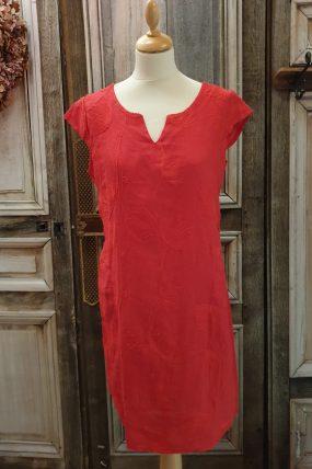 BB style Jurk Lino Borduur (rood)